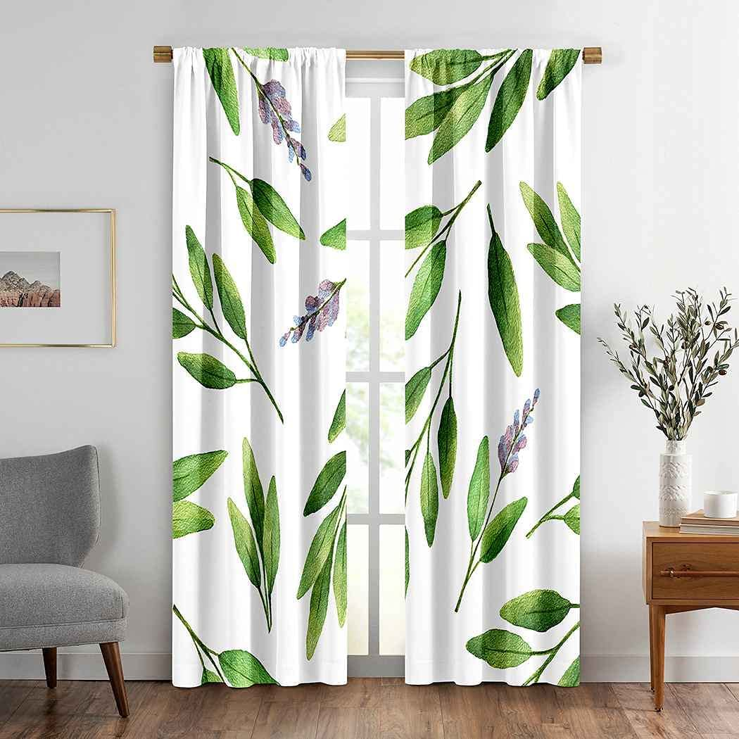 Leaves Window Drapes Curtain 2 Herb Gifts Watercolor Green Sale item Sage Panels