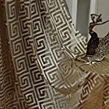 MYRU – Juego de 2 cortinas transparentes negras y doradas para cortinas de...