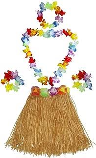 Fighting to Achieve 40cm Performance Grass Skirt with Flowers Bracelets Headband Necklace Hula Set