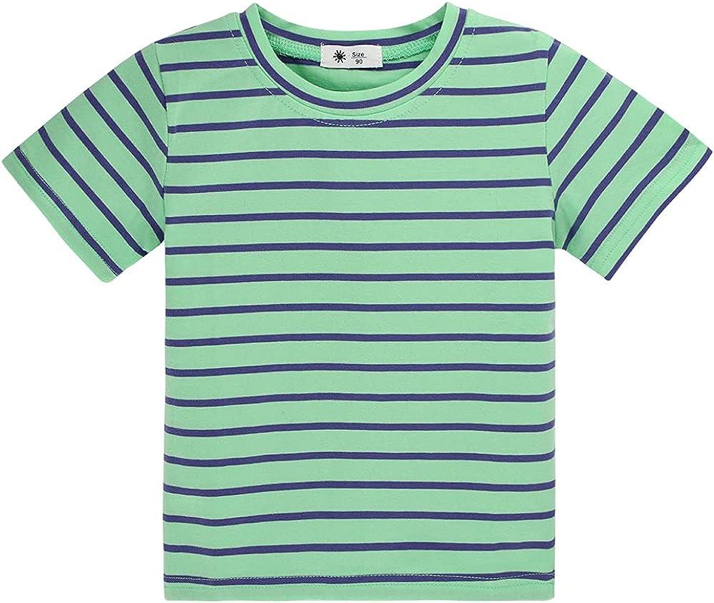 KISBINI Unisex Girls Short Sleeve Tee Cotton T-Shirt Top Tees Toddler Girls and Boys Basic Solid Tee
