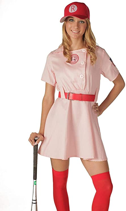 1940s Costumes- WWII, Nurse, Pinup, Rosie the Riveter TV Store Womens A League of Their Own Rockford Peaches AAGPBL Baseball Dress  AT vintagedancer.com