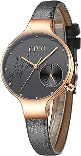 18ab93e60 CIVO Relojes Mujeres Señoras Reloj de Pulsera Moda Diseñador Impermeable  Minimalista Gris Relojes para Mujeres y