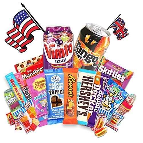 QueenBox® Amerikanische Süßigkeiten Box | USA Box 15 Teile - Candy Mix inkl. Getränke – Hersheys – Reeses – Chupa Chups & vieler wechselnder Köstlichkeiten