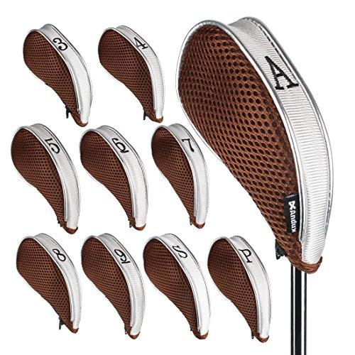 Andux Netz Golf Schlägerkopfhüllen mit Reißverschluss 10 Stück