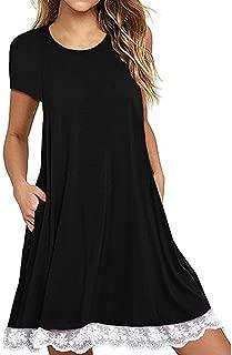 AmyDong Dress, Women's Sleeveless Dresses Print Short Sleeve Loose Casual O-Neck Length Dress