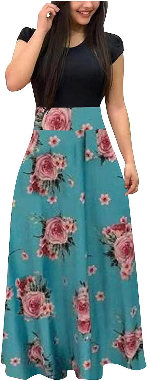 Aniwood Summer Dresses for Women Casual Elegant, Women's Short Sleeve Loose Printing Maxi Dresses Casual Long Dresses