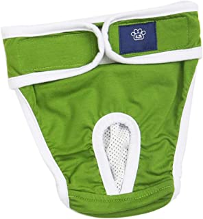 F Fityle Reusable Dog Diapers – Durable & Washable Sanitary Wraps Panties for Female Pets, Cotton Cloth Material, S and XL Blue/Yellow/Green Optional