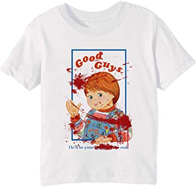 Bloody Good Guys - Chucky - Chucky Niños Unisexo Niño Niña Camiseta Cuello Redondo Blanco Manga Corta Todos Los Tamaños Kids Boys Girls T-Shirt White