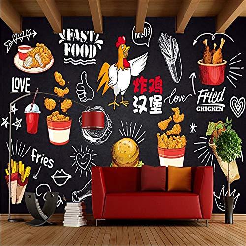 Eigen 4D muurschildering groot wallpaper, Fried Chicken burger gastronomie gourmet snel eten friet, moderne Hd zijde muurschildering poster afbeelding TV sofa achtergrond muur decoratie voor woonkamer 300cm(W)×200cm(H)|9.84×6.56 ft