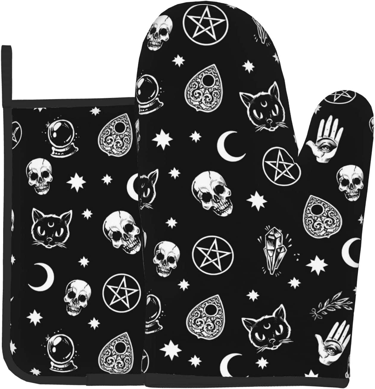 Gothic Skull Cat Moon Oven Mitts Resistant Deluxe and Rare Holders Pot Sets