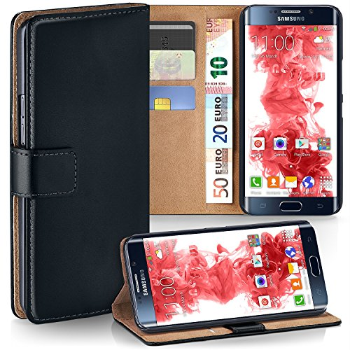 MoEx Premium Book-Case Handytasche kompatibel mit Samsung Galaxy S6 Edge | Handyhülle mit Kartenfach und Ständer - 360 Grad Schutz Handy Tasche, Schwarz