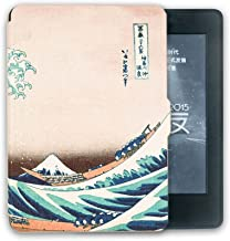Kandouren Case Cover for Kindle Voyage - Great Wave Art Skin,Lighted Slim Leather Cover with  Autoweek function,white color