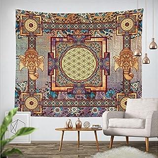 Goldbeing indischer Wandteppich Wandbehang Mandala Tuch Wandtuch Gobelin Tapestry Goa Indien Hippie-/ Boho Stil als Dekotuch/Tagesdecke indisch orientalisch Psychedelic 150 x 130cm, Rechteck