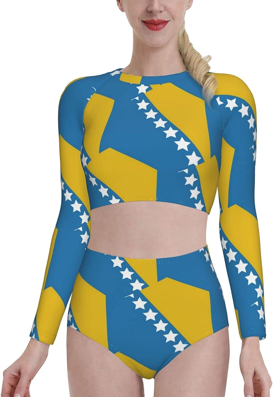 Retail Sign Systems Bosnia and Herzegovina Flag Womens Two Piece Swimsuit Long Sleeve Rash Guard Swimwear