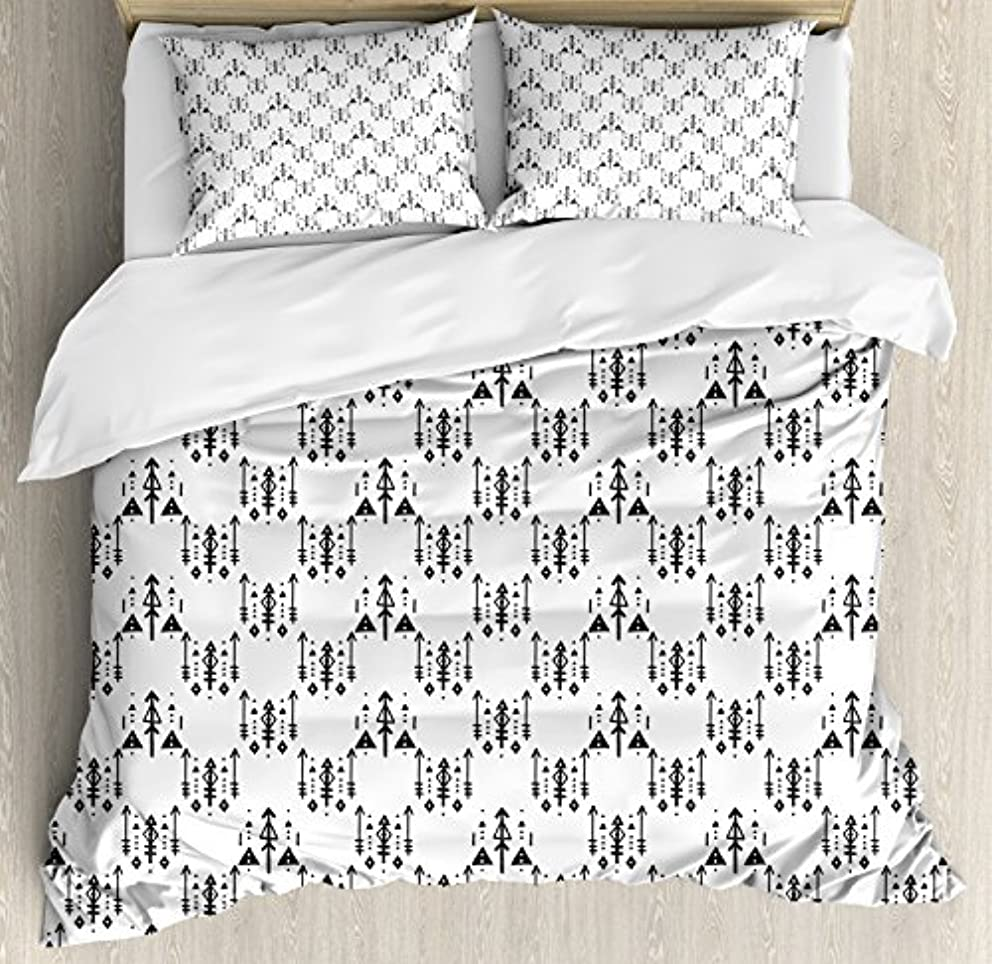 Ambesonne Tribal Duvet Cover Set, Arrow with Feathers Print Ethnic Abstract Aztec Boho Monochrome Pattern Design, 3 Piece Bedding Set with Pillow Shams, Queen/Full, Charcoal Grey
