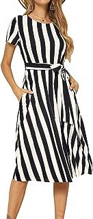 Women's Short Sleeve Striped Casual Flowy Midi Belt Dress with Pockets