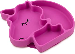Bumkins Silicone Grip Dish, Suction Plate, Divided Plate, Baby Toddler Plate, BPA Free, Microwave Dishwasher Safe – Unicorn