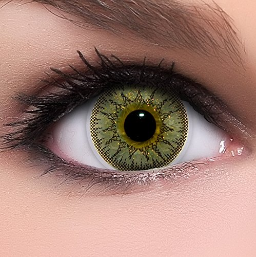 Circle Lenses goldene 'Gold Juwel' ohne Stärke + Behälter 14,50mm farbige Kontaktlinsen