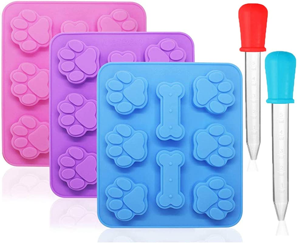 3 Pack Silicone Puppy Dog Paw Bone Shaped Print 2 In 1 Molds With 2 Pcs Graduated Clear Liquid Droppers 8 Cavity Reusable Ice Candy Trays Chocolate Cookies Baking Pans Moulds Pink Blue Purple