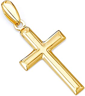 14k REAL Yellow OR White OR Rose Gold Latin Design Religious Cross Charm Pendant