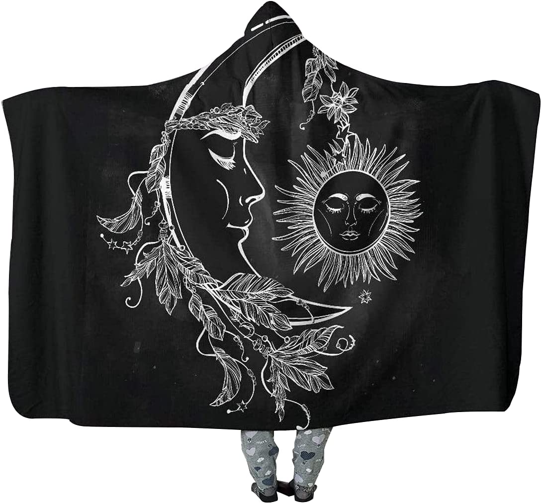 Sun and Max 83% OFF Moon Hooded Blanket Floral Crescent Meditation Max 57% OFF with