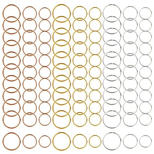 270 Pezzi 3 Colori / 3 Dimensioni Anelli di Capelli Treccia Anelli per Capelli Cerchi Loop Clip