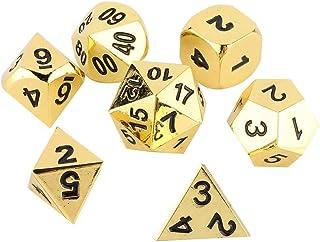 needlid Dés en métal, dés Multi-Faces Robustes durables 7Pcs Portables, pour l'activité thématique de Casino(Imitation Gold)