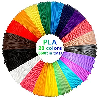 3D Pen Filament Refills PLA, 20 Colors, 33 Feet Each - Laufen 3D Printing Pen Filament, 3d printer pen filament 1.75mm Total 660 Feet for PACKGOUT, MYNT3D, Soyan, DeWang, 3D Pen