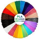 PLA de filament de stylo 3D, 20 couleurs, 10M chacun - filament de PLA de stylo 3D 1.75mm, couleurs de stylo 3D réglées pour PACKGOUT, MYNT3D, DeWang, stylo 3D et stylo d'impression 3D