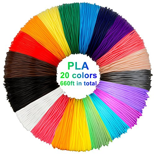 3D Pen Filament Refills PLA, 20 Colors, 33 Feet Each - Laufen 3D Printing Pen Filament, 3d printer pen filament 1.75mm Total 660 Feet for PACKGOUT, MYNT3D, Soyan, DeWang, 3D Pen