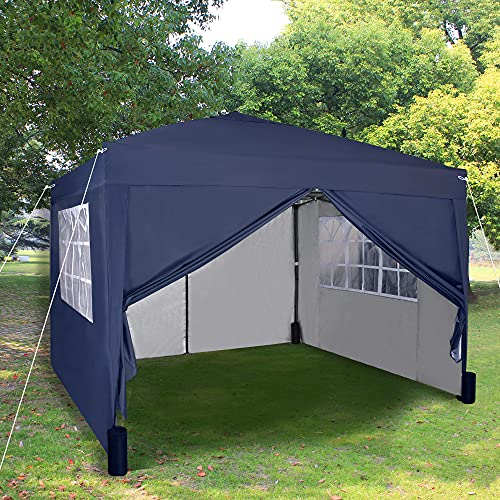 Pop-up Gazebo 3m x 3m with Sides 2 Wind Bars & 4 Weight Bags & Silver Protective Layer Waterproof Marquee Canopy WS (Blue)