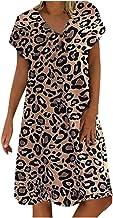 Lenfesh_Vestidos para mujer Estilo Bohemio Casual Vestido de Estampado de Leopardo Simple Cuello en V Manga Corta Vestido de Vacaciones de Talla Grande Suelto
