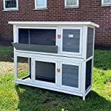 BUNNY BUSINESS 4ft 2-Tier Double Decker Rabbit/Guinea Pig Hutch Hutches with Sliding Trays & Ramp (Grey)