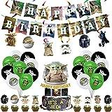 57Pcs Star Wars Baby Yoda birthday party decorations, Including 18 Yoda Birthday Balloons, 25 Small Cake Toppers, 1 Big Cake Toppers, 1 Happy Birthday Banner, 6 Flags and 6 Hanging Spins
