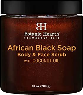 Botanic Hearth African Black Soap Face and Body Scrub - Skin Care with Coconut Oil - Promotes Healthy, Acne Prone Skin, 10 oz