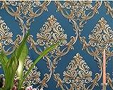Papier Peint Bleu Relief Damassé 3D, Moderne Minimaliste Non-tissé Fond D'écran pour Chambre Salon Canapé TV Fond Mur Décoration de La Maison / 20.8 In 32.8 Ft=57 Sq.ft/Bleu
