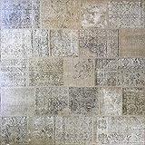 Mollaian - Alfombra cuadrada original de patchwork vintage con diseño de Anatolia, 220 x 220 cm, color beige y arena, fabricada a mano con mezcla de alfombras anatómicas de época