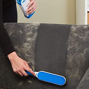 TORIOX ABS Pet Fur, Hair and Lint Remover with Self-Cleaning Base Double-Sided Brush Removes Dog and Cat Hairs from Clothes and Furniture (Blue and White)