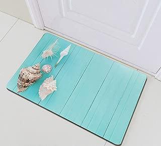 Colors Rustic Wooden Planks Seashells Conch Bathroom Rug,Indoor Non-Slip Door Mat,Children's Bathroom Carpet,15.7X23.6 in,Bathroom Accessories Home Decoration