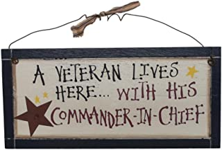 A Veteran Lives Here Wooden Sign   Rustic Home Decor Military Art   12 x 5.5 Inch