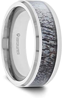 Thorsten Buck | Tungsten Rings for Men | Comfort Fit | Wedding Ring Band with Ombre Antler Inlay and Polished Beveled Edges - 8mm