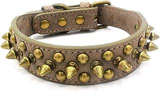 ALLBIZ Adjustable Microfiber Leather Spiked Studded Dog Collar Gift for Small Medium Large Pet Collar Like Cats/Pit Bull/B...