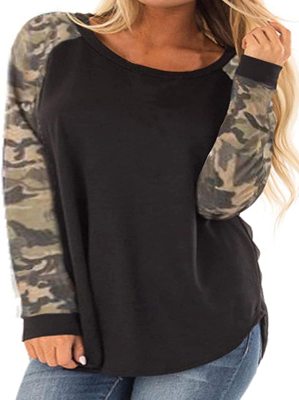 Kancystore Womens Color Block Raglan Long Sleeve Plus Size Tops Casual Lightweight Pullover Sweatshirts