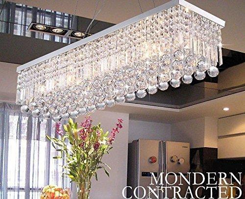 Dst Moderne Kristall Kronleuchter Lichter, Luxus K9 Kristall Tröpfchen Elegante Deckenleuchten Leuchte Rechteckige Unterputz Chrom Anhänger Beleuchtung für Esszimmer Wohnzimmer Foyer Lounge Küche