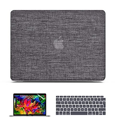 Belk Custodia MacBook Air 13 2021 2020 Modello: M1 A2337 A2179 A1932, Tessuto Plastica Rigida Cover + Copertura della Tastiera + Protezione dello Schermo, Grigio