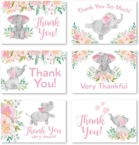 24 Pink Floral Elephant Baby Shower Thank You Cards With Envelopes, Kids Thank You Note, Vintage Animal 4x6 Varied Gr...