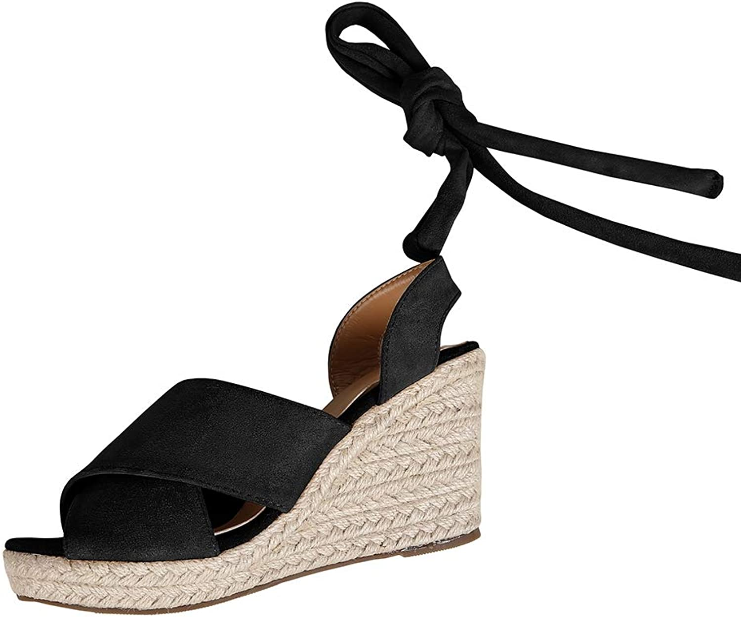 Syktkmx Womens Espadrille Platform Wedge Peep Toe Lace up Ankle Wrap Mid Heel Suede Sandals