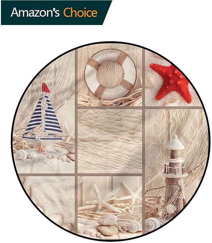 RUGSMAT Nautical Dining Room Home Bedroom Carpet Floor Mat Marine Sail Boat Collage Non Slip Soft Floor Mat Home Decor Diameter 71