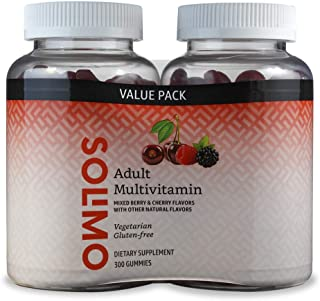 Amazon Brand – Solimo Adult Multivitamin, 300 Gummies, 150-Day Supply, 150 Count (Pack of 2)