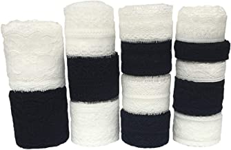 LaceRealm 46 Yards Black White Lace Trim 14 Rolls(3.3 Yards/Each) Assorted Floral Pattern Trim Lace Ribbon for Sewing, Floral Designing and Crafts (14 Styles)